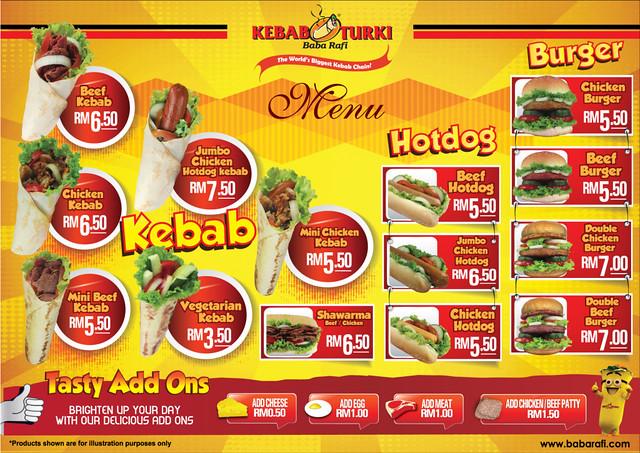 Menu Kebab Turki Baba Rafi Di Malaysia