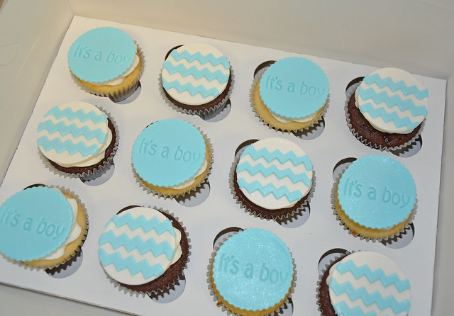 Blue and white chevron baby shower cupcakes
