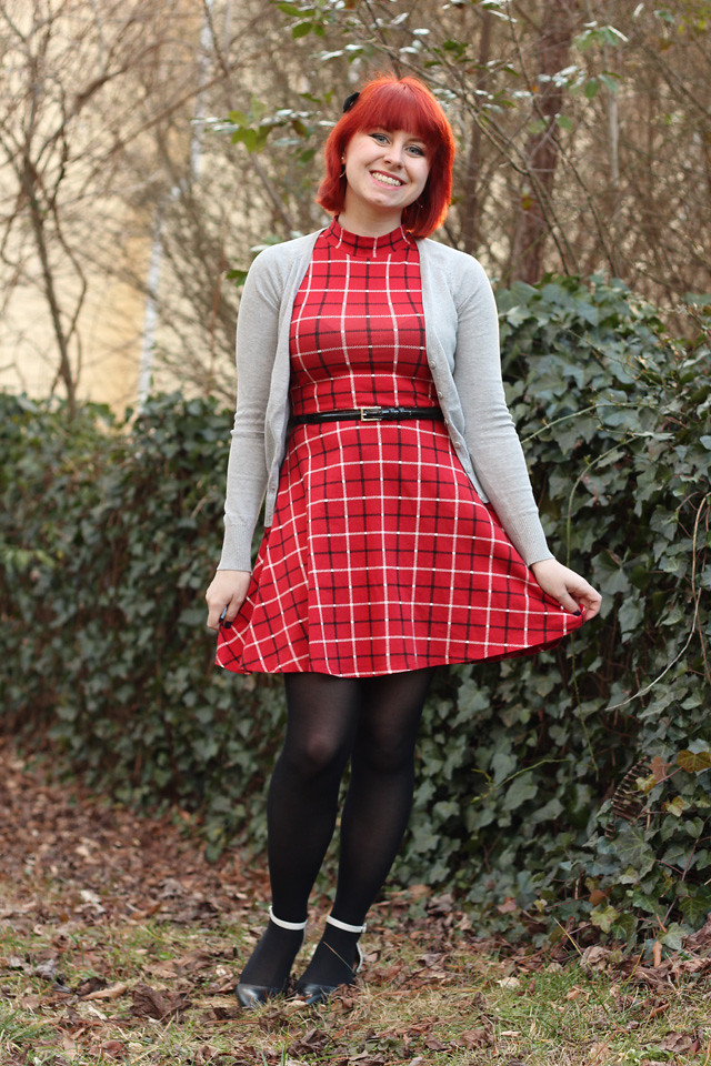 Red Plaid Mock Neck Dress, Gray Cardigan, Black Tights, and Black & White Flats