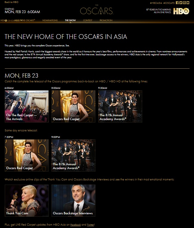 Hbo Asia Oscars Microsite - Content