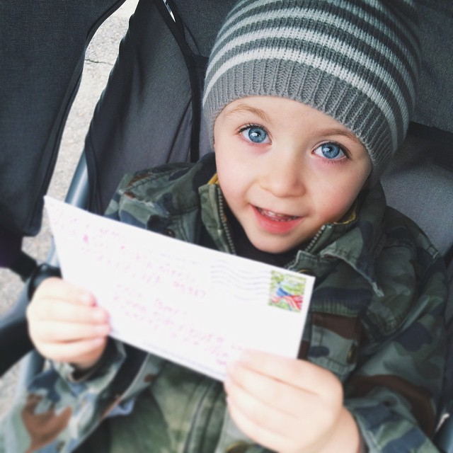 Snail mail from his cousin Bella 💌 It's a good day!
