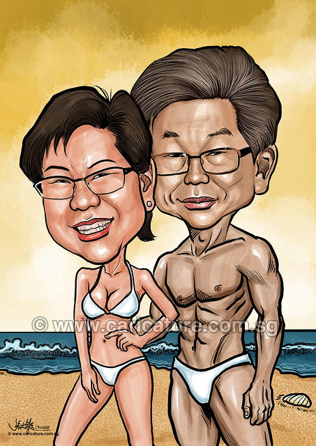 digital swimming couple caricatures (watermarked)