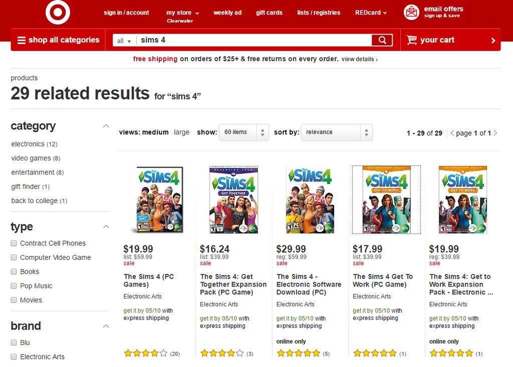 Target 60 percent off Sims 4