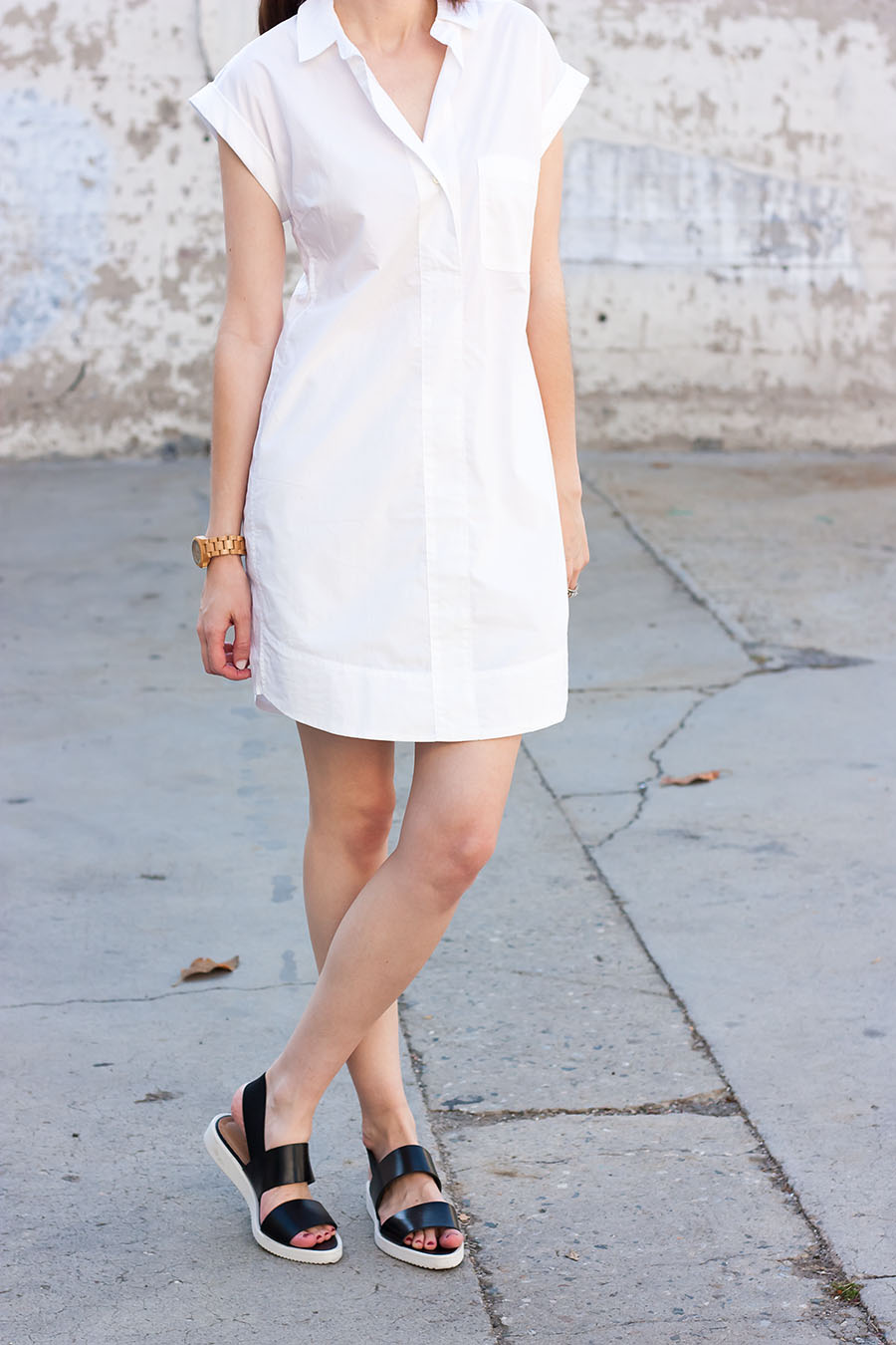 White Popover Shirtdress, Everlane Street Sandal, Jord Watch