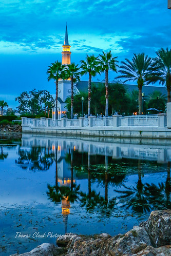 usa reflection water night landscape town hall pond florida steeple reflect townhall tradition portsaintlucie
