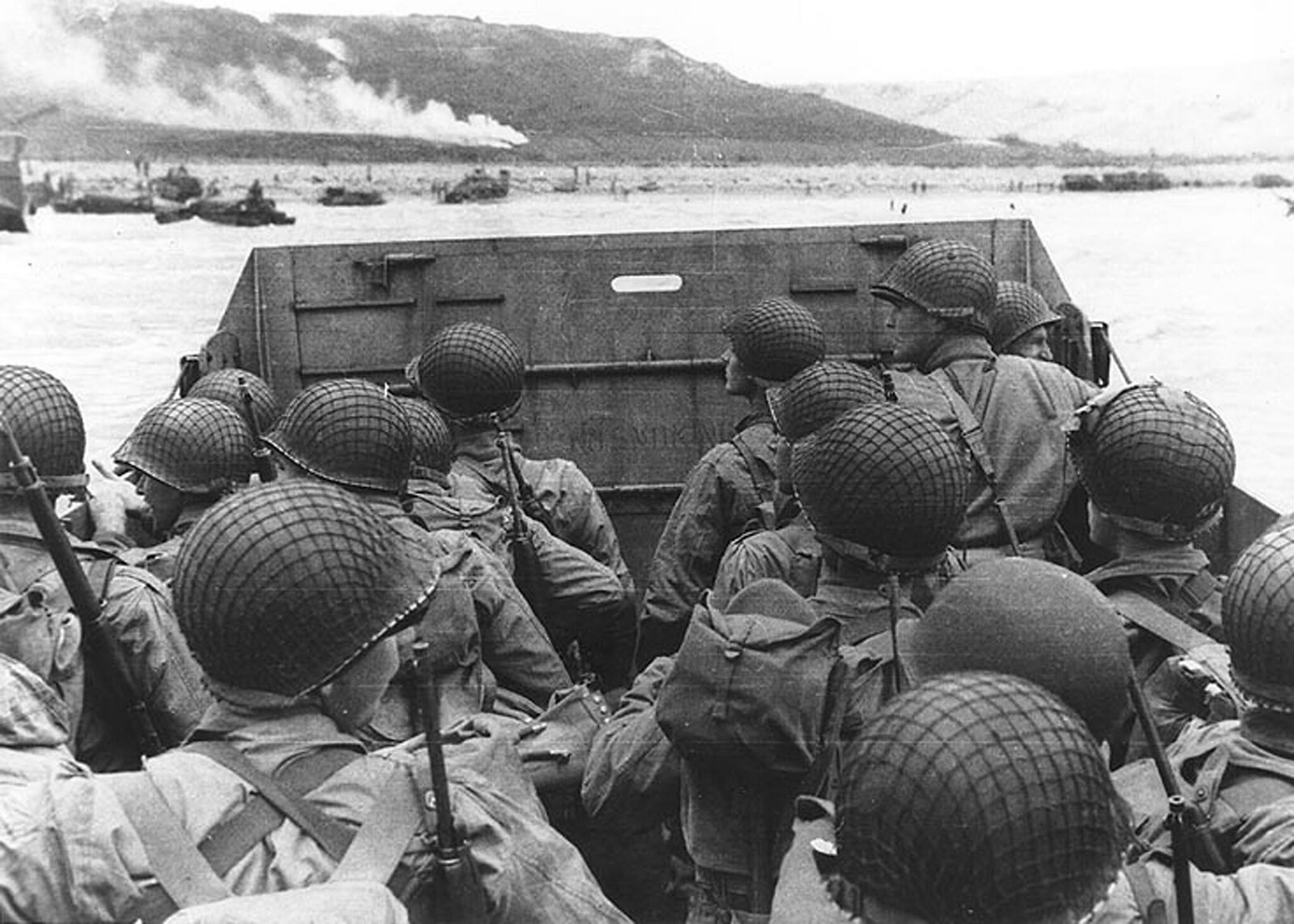 Troops in an LCVP landing craft approach Omaha Beach on D-Day, June 6, 1944