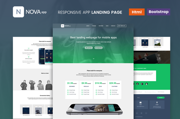 Nova - Responsive App Landing Page