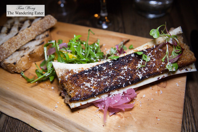 Bone marrow, horseradish crust, wild watercress, pickled red onion, sourdough toast