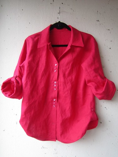 Shocking Pink BurdaStyle 03-2013-124 Linen Shirt