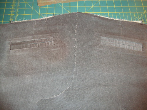 Welt pocket sample #2 on left; sample #1 on right