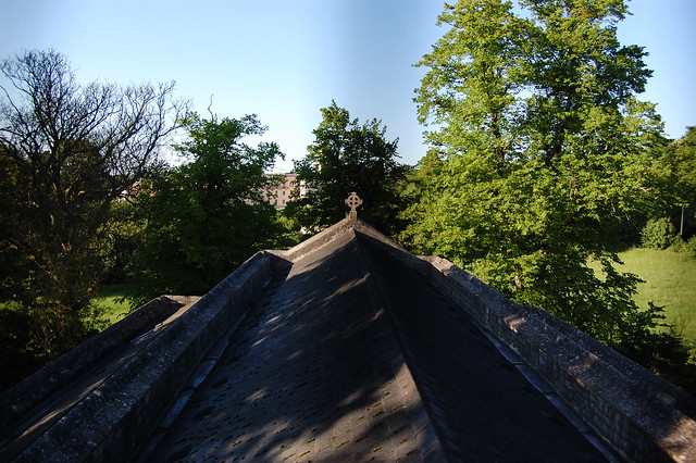 Looking along the church roof on a sunny evening