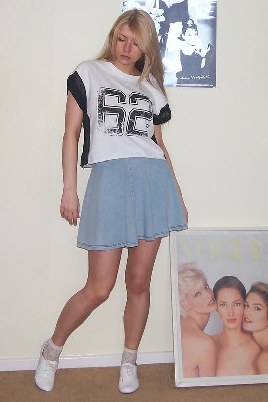 Topshop, Denim Mini Skirt, Circle Skirt, American Apparel Dupe, Varsity T-Shirt, Primark
