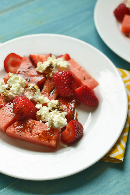 Sweet and Spicy Watermelon Ricotta Salad via LittleFerraroKitchen.com