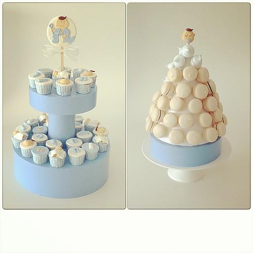 Baby Shower cupcake ve makaron kulesi... #babyshower #babayshowercupcake #macaron #macarontower #babyboy #cupcake #burcinbirdane