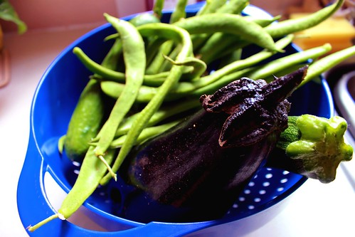 Green beans and eggplant.