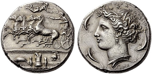 A Rare and Magnificent Greek Silver Dekadrachm of Syracuse (Sicily), Signed by Euainetos, Among the Finest Examples Known, a Masterpiece of Greek Numismatics by Ancient Art