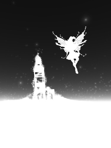 Image Description: White silhouettes on a black background of a broken tower and a winged figure in the sky.