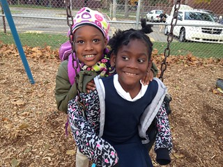 Black Girls Swing Playground After School Grand Rapids Montessori Lourdie 10-24-13