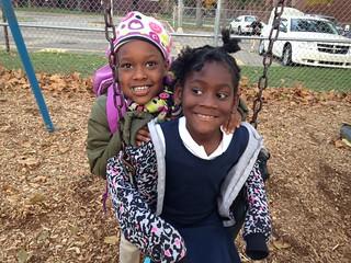 Black Girls Swing Playground After School Grand Rapids Montessori Lourdie 10-24-13