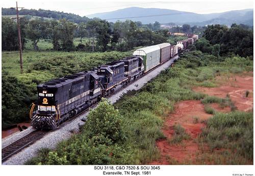 railroad train diesel tennessee railway trains southern co locomotive trainengine sr sou evansville chesapeakeandohio sd45 emd sd40 sixaxle sd35