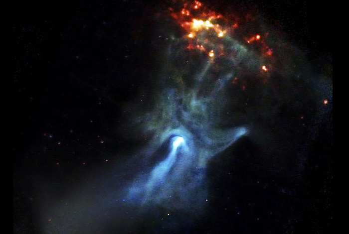 A small, dense object only 12 miles in diameter is responsible for this beautiful X-ray nebula that spans 150 light years. At the center of this image made by NASA's Chandra X-ray Observatory is a very young and powerful pulsar, known as PSR B1509-58, or B1509 for short.