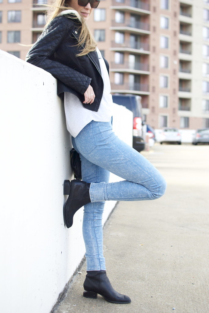 motto tee, graphic tee, fashion blog, style, tee shirt outfit, leather jacket, Alexander Wang Anouck Boots, Topshop Jeans