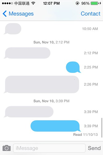 View the timestamp of each messages in iOS7
