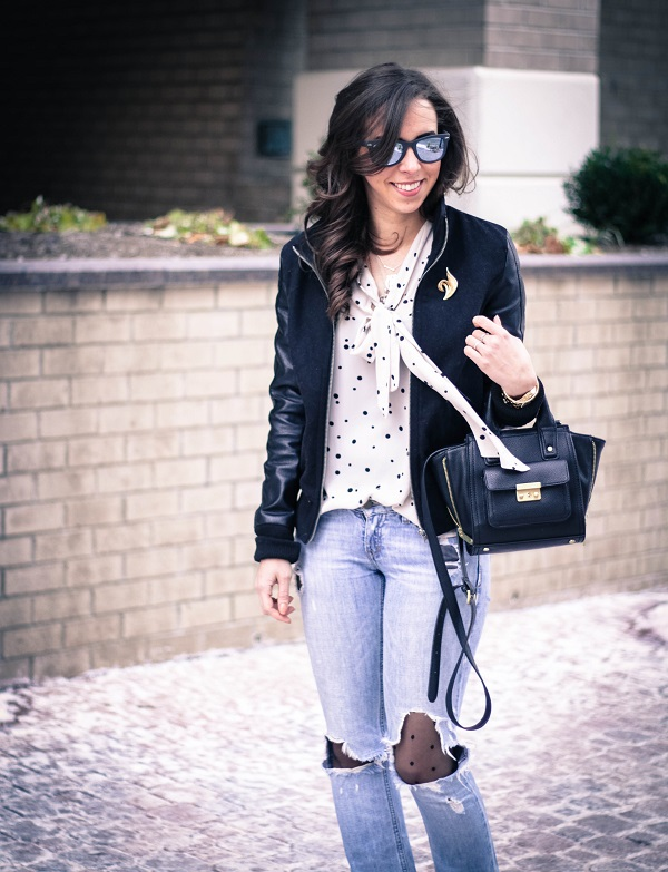 va darling. dc fashion blogger. virginia fashion blogger. faux leather sleeve bomber jacket. destroyed denim. polka dot tights. reflective ray-ban sunglasses. cold casual outfit. 2