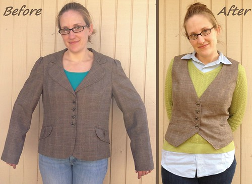 Plaid Blazer to Vest - Before & After