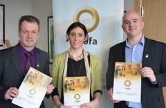 Réamonn Ó Ciarán (Gael Linn), Ursula Uí Dhonnaile (Líofa Development Officer) and Niall Comer (Comhaltas Uladh)