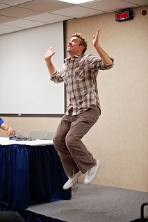 Nicholas Brendon gets some air doing the Snoopy dance