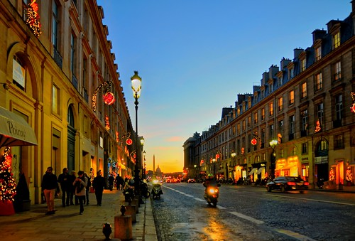 street sunset france lights bluehour rueroyale paris1er