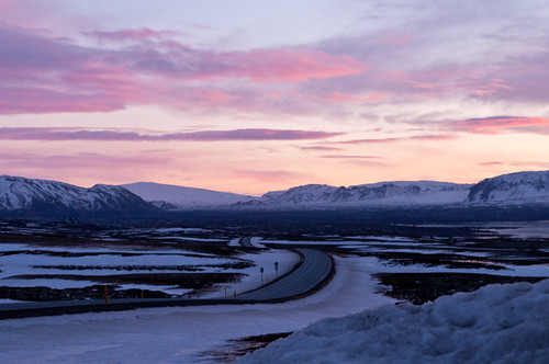road snow ice sunrise iceland rocks