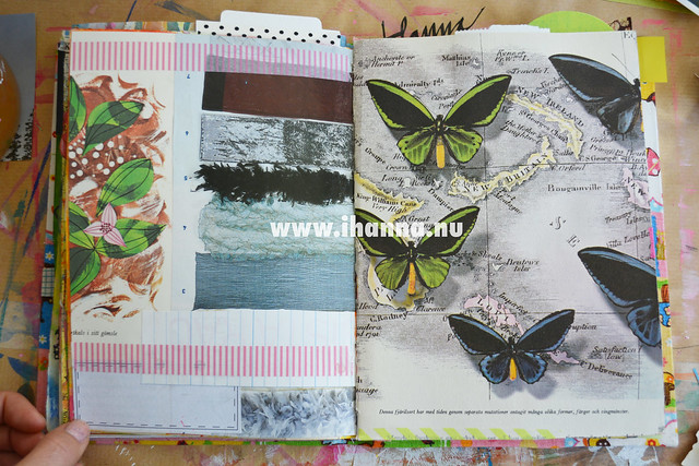 A started art journal spread