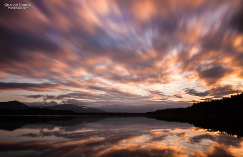 uk sunset sky orange lake black reflection tree water clouds forest sunrise canon lens evening scotland movement long exposure 10 mark tripod highland stop filter ii 5d loch aviemore manfrotto haida speyside 24105 potd:country=gbunitedkingdom yahoo:yourpictures=duskdawn