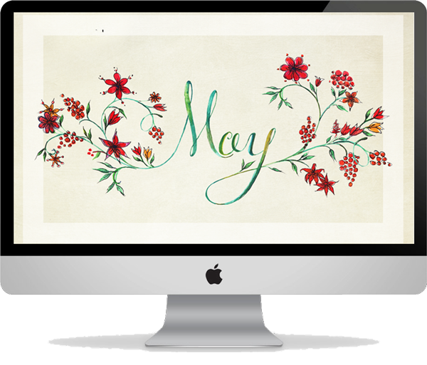 May 2014 Tan Floral Desktop