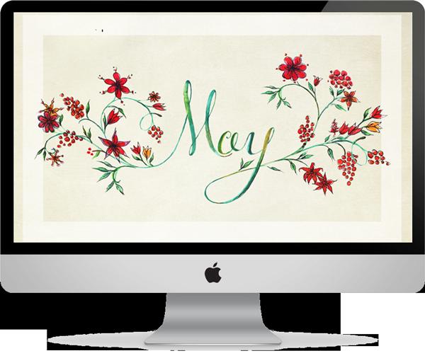 May 2014 Tan Floral Desktop