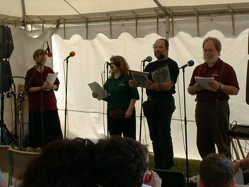 Trudy Leonard, Clair W. Kiernan, Tony Trauring, and Daniel Taylor perform.