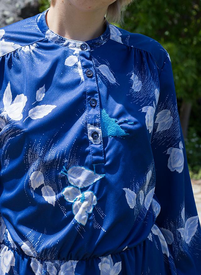 vintage floral blue house dress