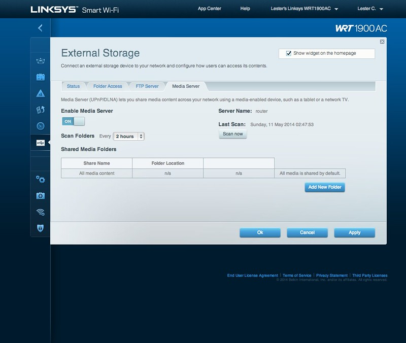 Linksys Smart Wi-Fi - External Storage - Media Server