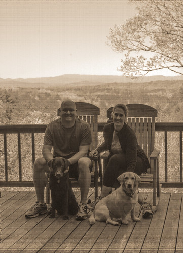 mountains dogs landscape yellowlab view chocolatelab deck familyphoto rockingchairs bigbearcabin