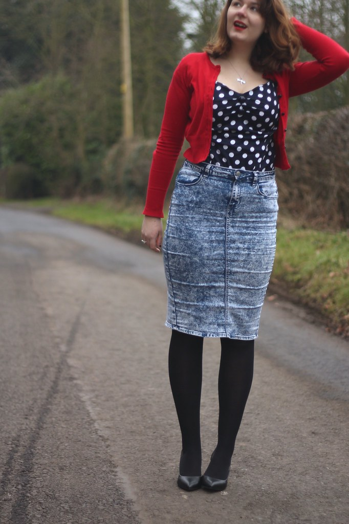 Collectif outfit with denim skirt