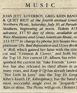 07/30/83 Great Northern Picnic 1983 @ Parade Stadium, Minneapolis, MN (News Item)