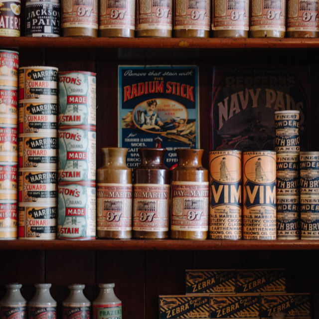 tins and bottles in shop