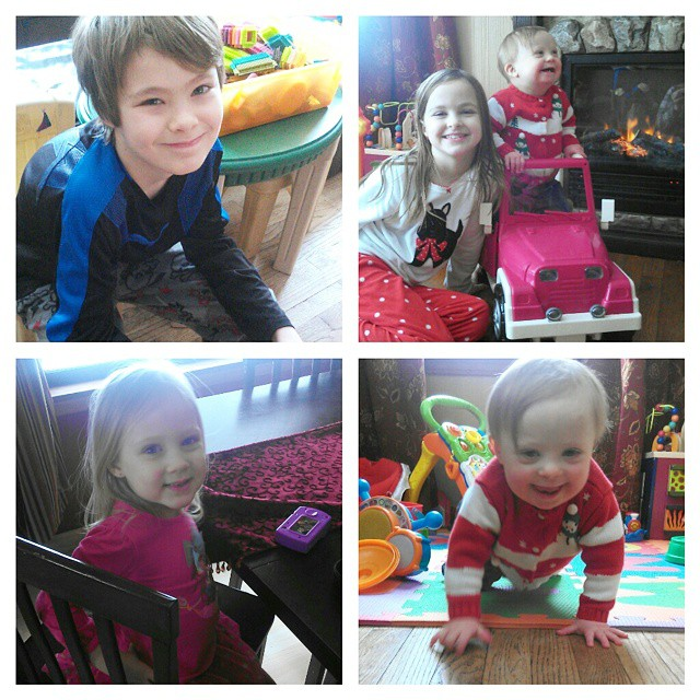 Snow day shenanigans: Dylan is playing Xbox, Lexie is making Liam be her live baby doll, Lily is doing her own thing, and Liam is a toddler tornado!  Only 5 more hours until my husband gets home. Haha! #reallife #momlife
