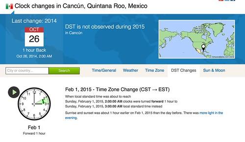 Time change Cancun