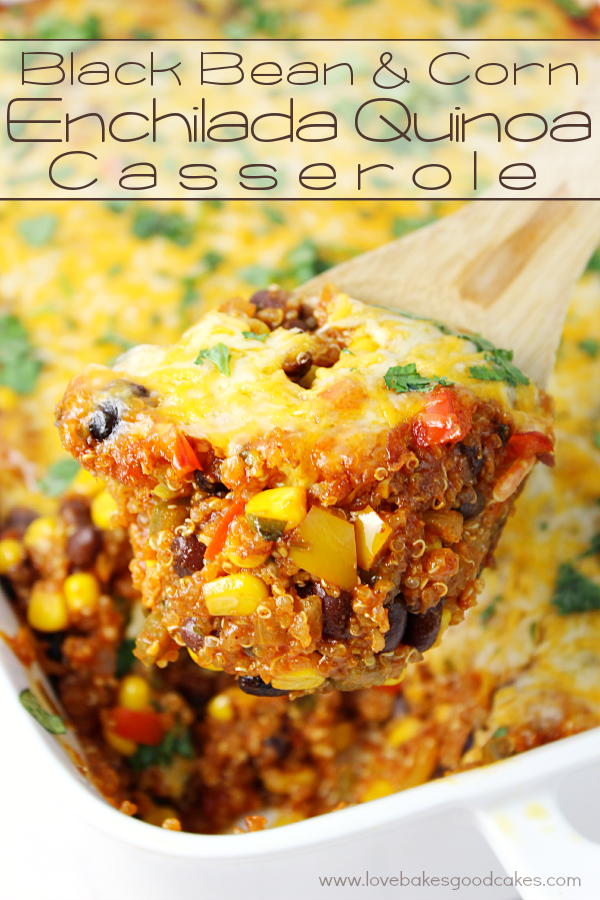 Black Bean & Corn Enchilada Quinoa Casserole on a spoon inside a casserole dish.