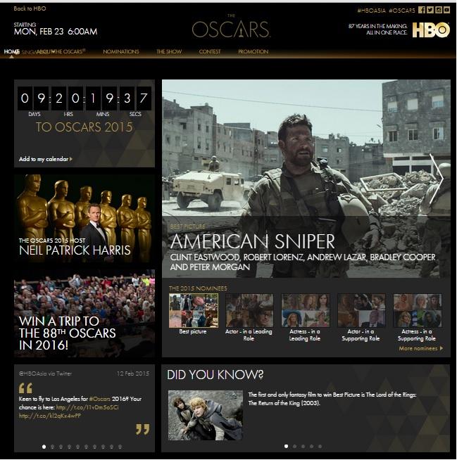 Hbo Asia Oscars Microsite - Homepage