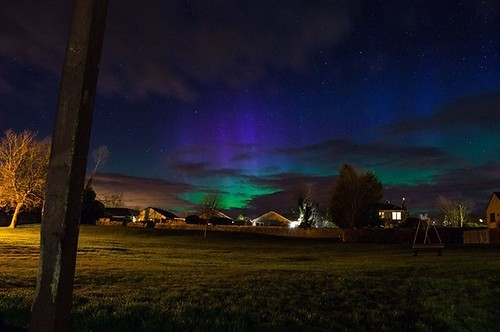 Northern lights in Fife, Scotland