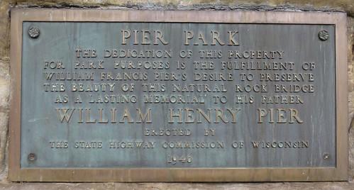 Pier Park Plaque (Rockbridge, Wisconsin)